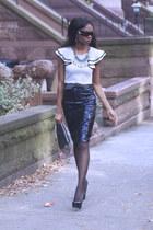 sequins Zara skirt - furry asoscom bag - tribtoo YSL pumps