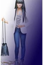 skinny Forever21 jeans - cream H&M blazer - H&M bag - Dolce Vita sandals - polka