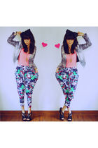gray Riotous blazer - pink Riotous top - blue Riotous pants - black Riotous shoe