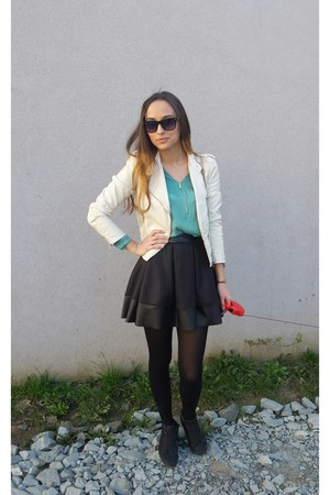 black H&M shoes - white H&M jacket - black random brand skirt