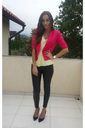 black heels - light yellow blouse - black pants - hot pink H&M suit