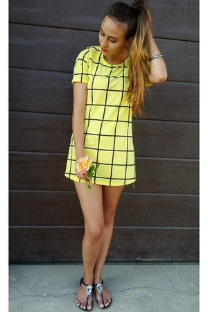 black Ipanema sandals - yellow random brand dress - black H&M bracelet