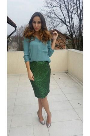 green random brand skirt - silver Musette heels - green Bershka blouse