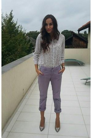 ivory H&M blouse - silver Musette heels - light purple Orsay pants