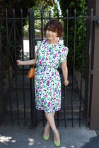 purple 80s silk vintage dress - green pumps BDG shoes