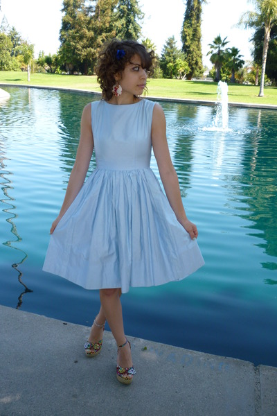 vintage dress - Steve Madden shoes - blue flower clip accessories - floral earri