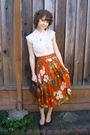 Orange-vintage-skirt-vintage-top-vintage-purse-vintage-shoes-vintage-nec
