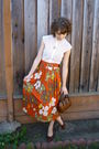 Orange-vintage-skirt-vintage-top-vintage-purse-vintage-shoes-vintage-nec