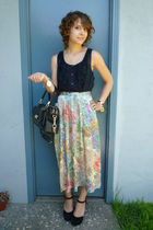 vintage skirt - black Gap top - black asos shoes - black coach