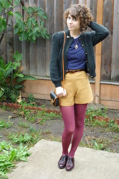 vintage cardigan - vintage top - vintage shorts - vintage - vintage shoes - vint