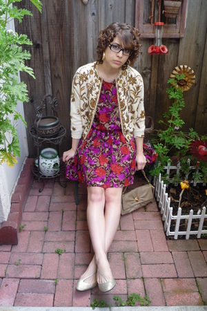 gold beaded vintage cardigan - gold flats shoes - purple silk vintage dress
