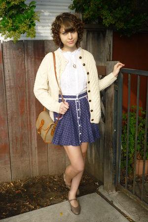 vintage top - vintage skirt - vintage shoes - vintage cardigan - vintage purse