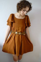 vintage belt - leather flats vintage shoes - pumpkin ruffle H&M dress