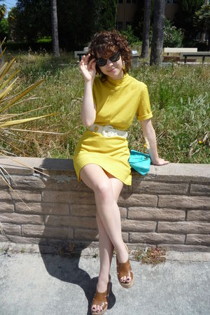 yellow vintage dress - blue asos purse - white vintage belt - brown Bakers shoes