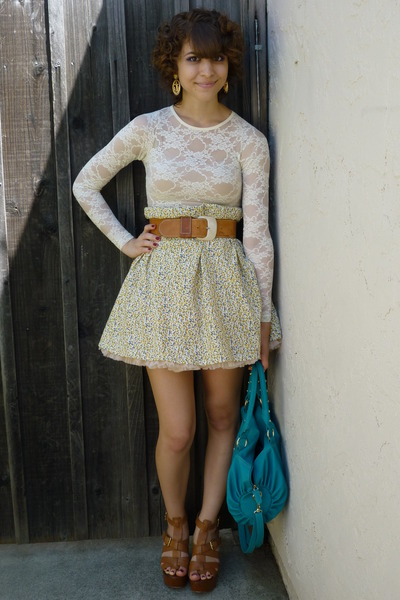 vintage belt - Steve Madden shoes - turquoise bag - American Apparel skirt