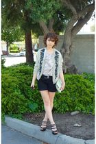 silver vintage cardigan - silver Silk top - black Structured shorts - black Bake
