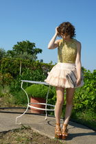American Apparel skirt - brown Steve Madden shoes - gold sequin vintage top