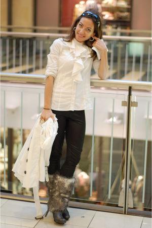 gray Isabel Toledo boots - white MaxAzria shirt - white Bebe coat