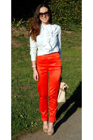 carrot orange H&M Trend pants - white BCBGMAXAZRIA shirt