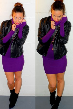 black Sergio Rossi shoes - purple rock and republic dress - black Bebe jacket