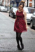 maroon lace dress - black boots