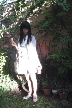 white cotton on scarf - silver Miss Sixty top - white cardigan - white Converse