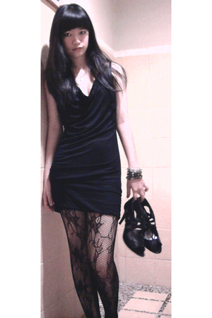 black Esprit dress - black cotton on stockings - black Charles & Keith shoes - d