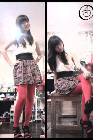 white top - pink supre skirt - red tights - black Charles & Keith shoes