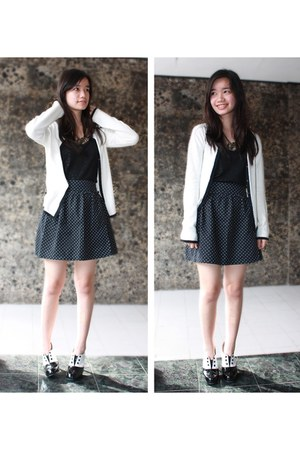 navy cotton on skirt - black shoes - black Body and Soul top - white cardigan