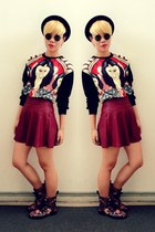 maroon burgundy skirt - black floral print doc martens boots