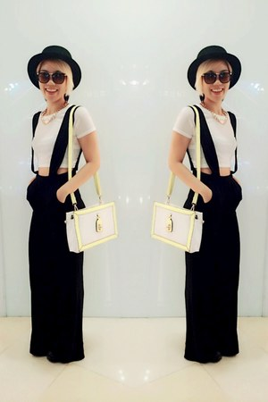 black nastygal hat - white Topshop top - black nastygal pants