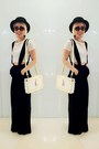 Black-nastygal-hat-black-nastygal-pants-white-topshop-top