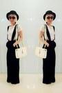 Black-nastygal-hat-black-nastygal-pants-white-topshop-top