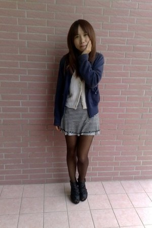 navy made in taiwan wow jacket - black no brand heels - white handmade vest