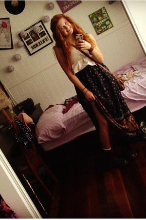navy boho Valley Girl skirt - deep purple military Dr Martens boots