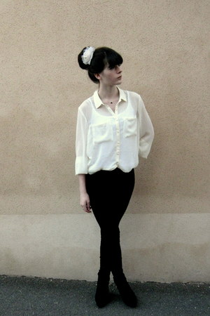 white H&M blouse - black Mango leggings