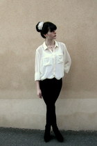 white H&M blouse - black Mango leggings