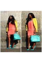 orange Zara dress - yellow Zara blazer - sky blue Hermes bag