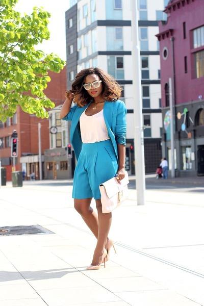 hot pink Christian Louboutin accessories - blue Reiss blazer - Fendi bag
