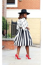 black Reiss hat - black Principles skirt - Christian Louboutin pumps