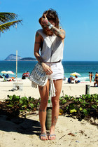 white c&a bag - white zimpy shorts - silver Forever 21 top