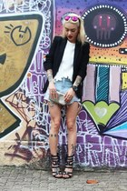 black Zara blazer - white Zara shirt - sky blue Choies shorts