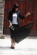black Aremo skirt - black Zara blazer - black Andarella heels