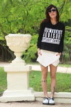 white Melissa shoes - black romwe sweater - white Zara shorts