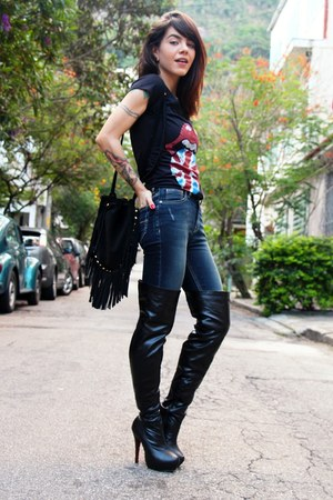 black Lovely shoes boots - blue fyi jeans - black miallegra shirt