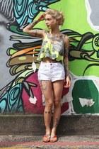 lime green c&a top - white zimpy shorts - carrot orange miallegra flats