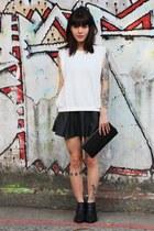 black Zara boots - black c&a skirt - white Zara blouse