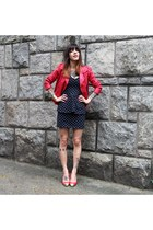 red c&a jacket - navy Stooge dress - red Vizanno heels