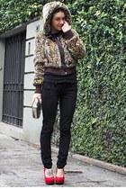 brown Zara coat - black Zara pants - red carmen steffens pumps