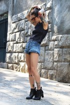 black neoprene Zara shirt - black Satinato boots - sky blue fyi shorts